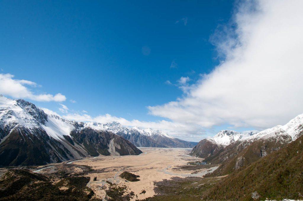 Aussicht ins Tal von Mt Cook Village