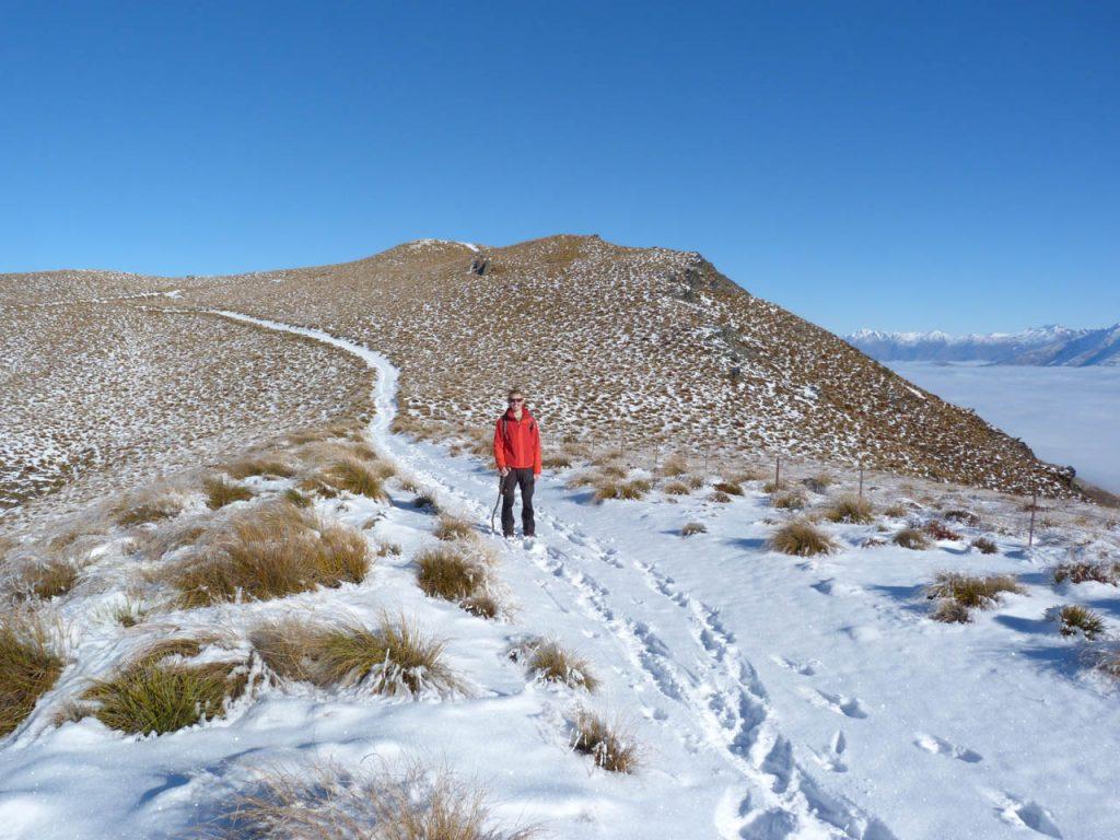 Der flache und sonnige Abschnitt zum Gipfel