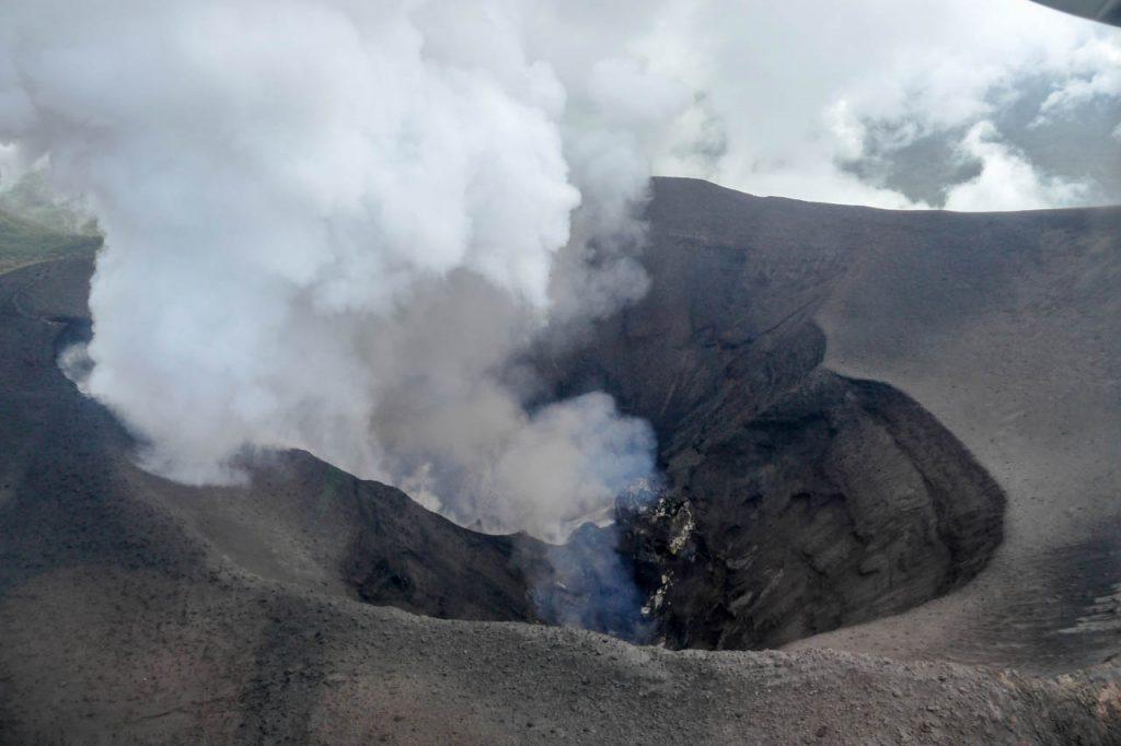 Blick in den Vulkan aus dem Flugzeug