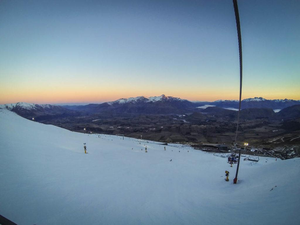 Sonnenuntergang im Skigebiet Coronet Peak, Queenstown