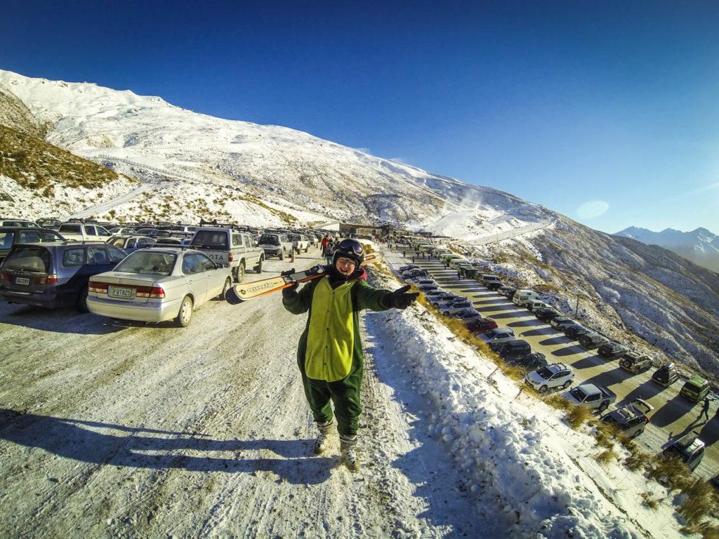 Treble Cone - Parkplatz des Skigebietes