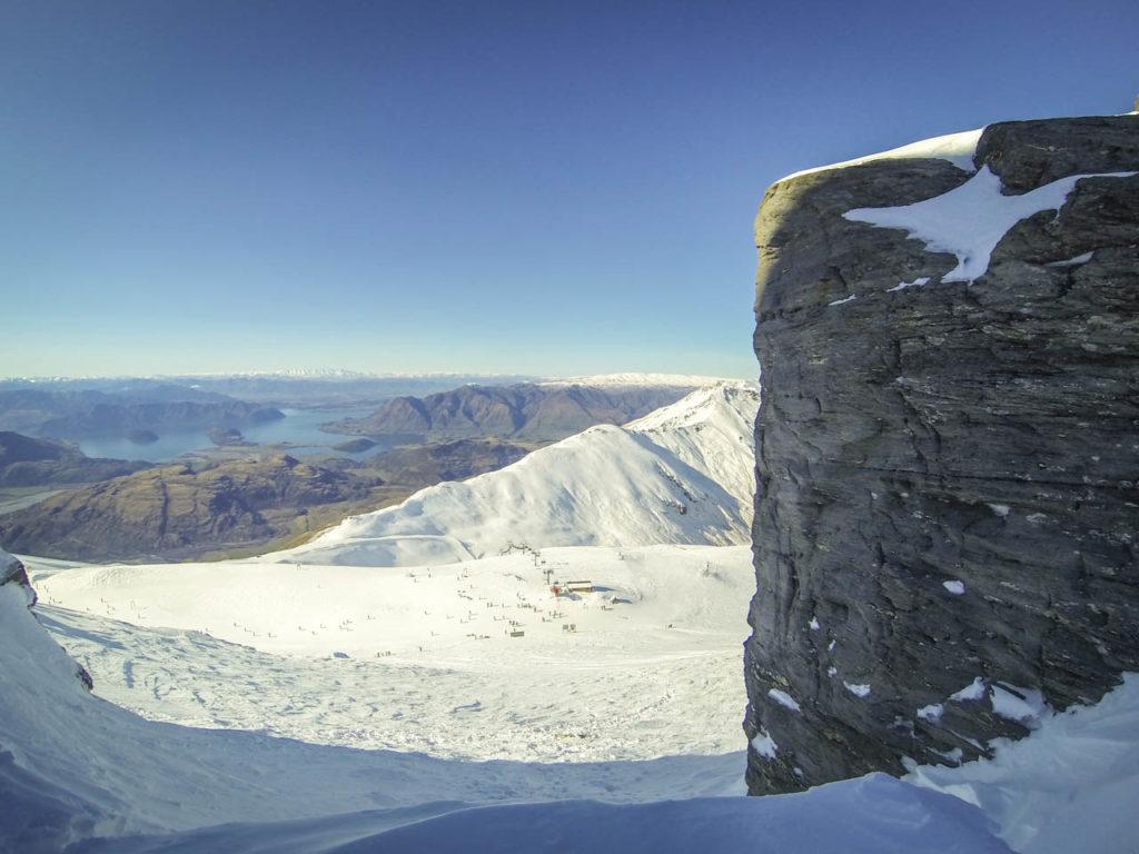 Aussicht von den Gipfeln im Skigebiet Treble Cone